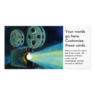 Movie projector colorful expressive painting art custom photo card