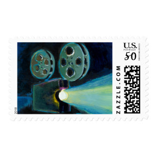 Movie projector colorful expressive painting art postage