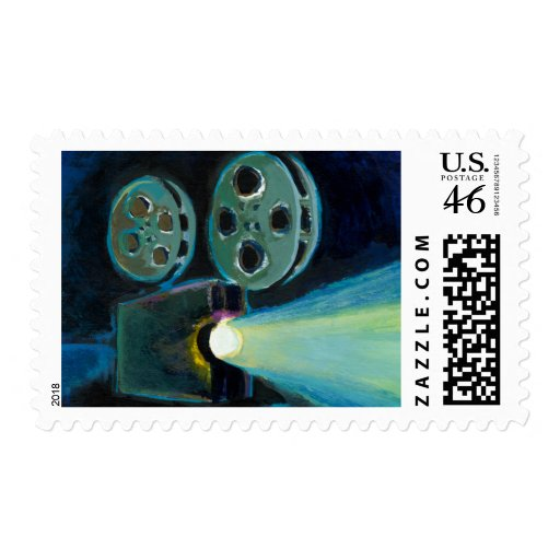 Movie projector colorful expressive painting art stamp