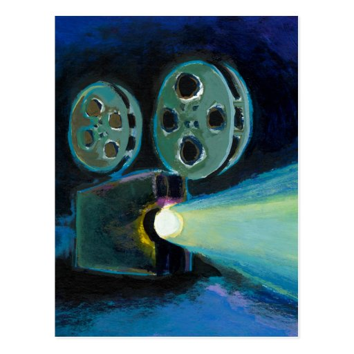 Movie projector colorful expressive painting art post card