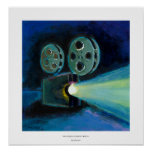 Movie projector colorful expressive painting art poster