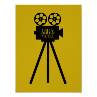 Movie Projector Hollywood Happy Birthday Poster