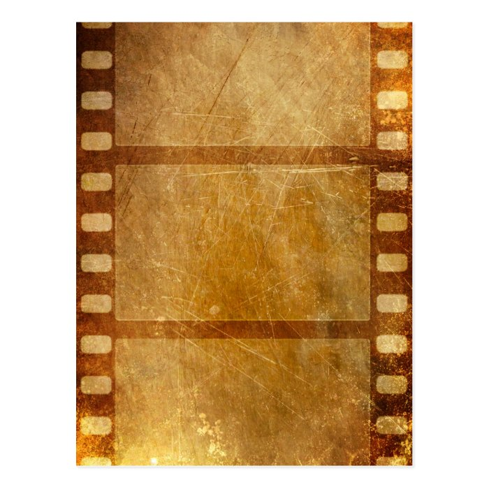 MOVIE REEL OLD-FASHIONED GRUNGE GOLD BACKGROUND DI POSTCARD