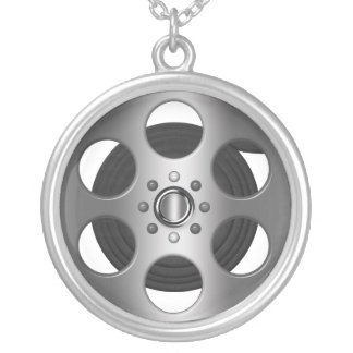 Movie Reel Silver Plated Necklace