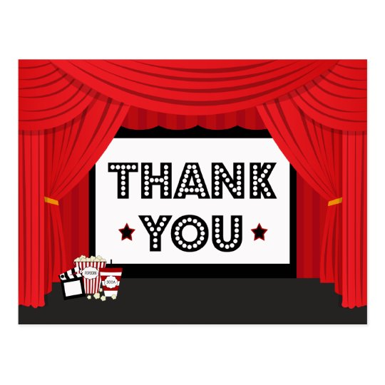 movie screen and curtain birthday party thank you postcard