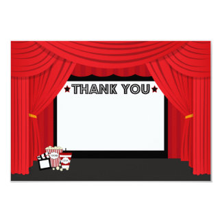 Movie screen and curtain birthday thank you card