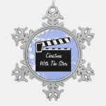 Movie Slate Clapperboard Board Snowflake Pewter Christmas Ornament at Zazzle