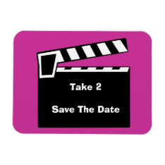 Movie Slate Clapperboard Save The Date Flexi Magnet at Zazzle