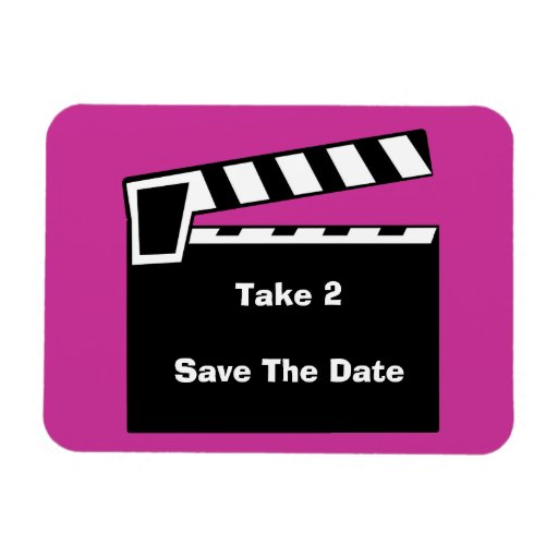 Movie Slate Clapperboard Save The Date Flexi Rectangular Magnet