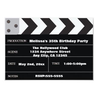 "Movie Star Cinema Clapper Hollywood Invitation 3.5"" X 5"" Invitation Card"