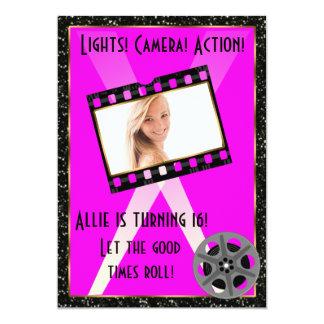 "Movie Star Pink Glitter Invite 5"" X 7"" Invitation Card"