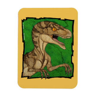 Movie style vintage velociraptor magnet