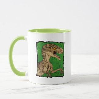 Movie style vintage velociraptor mug