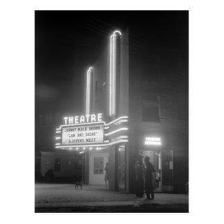 Movie Theater at Night, Greensboro, Georgia 1940s Postcard