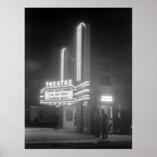 Movie Theater at Night, Greensboro, Georgia 1940s Poster