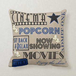Movie Theater Cinema Admit one ticket Pillow-blue Throw Pillows