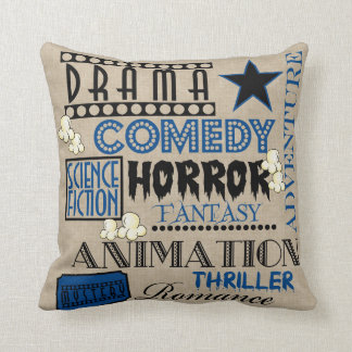 Movie Theater Cinema Genre ticket Pillow-Dark blue Throw Pillow