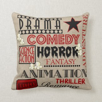 Movie Theater Cinema Genre ticket Pillow-Red Throw Pillow