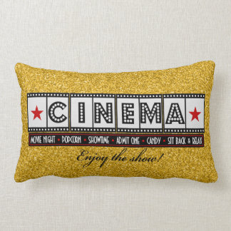 Movie Theater Cinema Pillow- red accent Lumbar Pillow