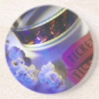 Movie Theater Film, Popcorn & Tickets Drink Coaster