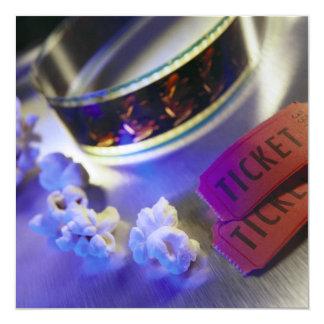 Movie Theater Film, Popcorn & Tickets 5.25x5.25 Square Paper Invitation Card