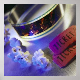 Movie Theater Film, Popcorn & Tickets Poster