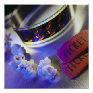 Movie Theater Film, Popcorn & Tickets Posters