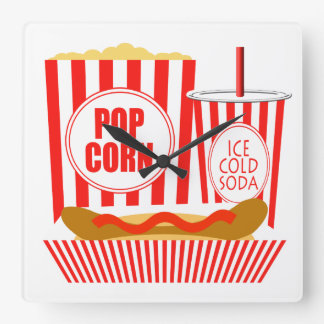 Movie Theater Food And Drinks Square Wall Clock
