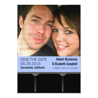 Movie Theater Photo Save the Date Invite, Blue Card
