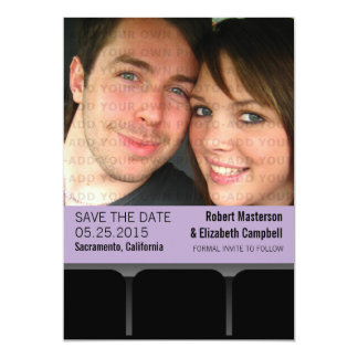 Movie Theater Photo Save the Date Invite, Lilac Card