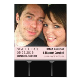 Movie Theater Photo Save the Date Invite, Pink Card