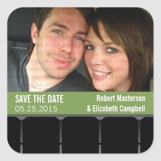 Movie Theater Photo Save the Date Stickers, Green Square Sticker