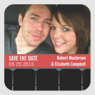 Movie Theater Photo Save the Date Stickers, Red Square Sticker