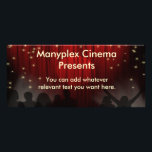 """Movie Theater Rack Card<br><div class=""""desc"""">Rack card with red theater curtains,  stars and audience.  Back side features matching theme with popcorn buckets and admission tickets.  Suitable for movie theaters,  concert venues,  etc.  Easy to customize with your own text.</div>"""