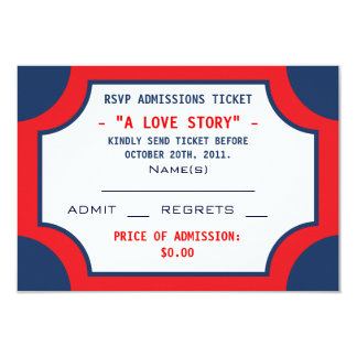 Movie Theater RSVP Admissions Tickets 3.5x5 Paper Invitation Card