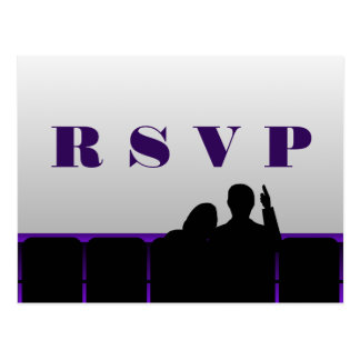 Movie Theater RSVP Postcard, Purple Postcard