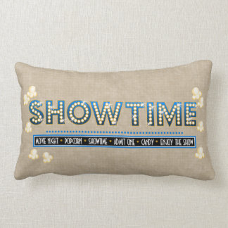 Movie Theater Showtime Pillow- Blue Accent Throw Pillow