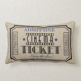 Movie Theater Ticket Pillow- blue accent Pillows