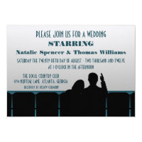 Movie Theater Wedding Invite, Blue Invitation