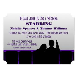 Movie Theater Wedding Invite, Purple Card