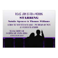 Movie Theater Wedding Invite, Purple Invitation