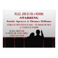 Movie Theater Wedding Invite, Red Invitation
