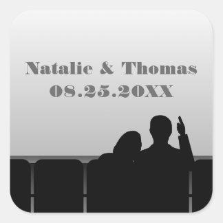 Movie Theater Wedding Stickers, Gray Square Sticker