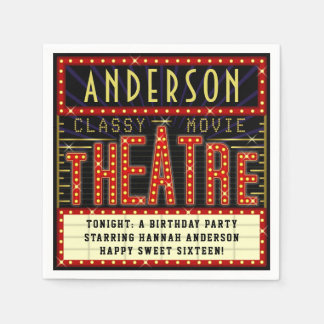 Movie Theatre Marquee Cinema Birthday Party | Name Napkin