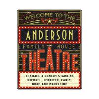 Movie Theatre Marquee Home Cinema | Custom Name Canvas Print