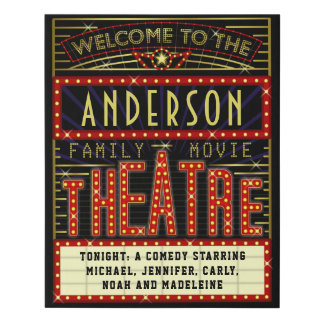 Movie Theatre Marquee Home Cinema | Custom Name Faux Canvas Print
