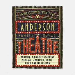 Movie Theatre Marquee Home Cinema | Custom Name Fleece Blanket