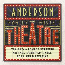 Movie Theatre Marquee Home Cinema | Custom Name Glass Coaster