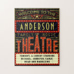 """Movie Theatre Marquee Home Cinema   Custom Name Jigsaw Puzzle<br><div class=""""desc"""">Enjoy family movie night in style with this original theatre / theater puzzle. Made to look like a retro cinema marquee with faux lights and lots of sparkle, this personalized puzzle is the perfect gift for any movie buff. The main color scheme is red, gold and black. All text can...</div>"""