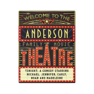 Movie Theatre Marquee Home Cinema | Custom Name Metal Print